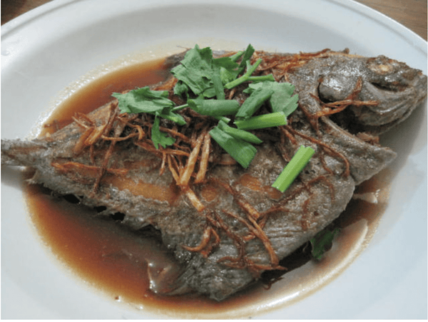 Deep Fried Black Pomfret with Ginger - Catch Of The Day Singapore