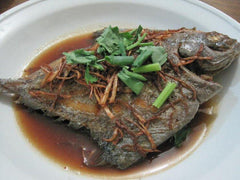 Deep Fried Black Pomfret with Ginger