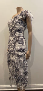 Renato Nucci Couture shredded trim dress