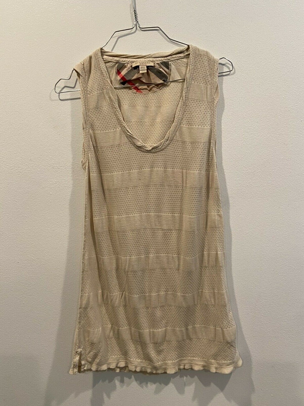 Burberry Brit Peforated Nylon Striped Tank