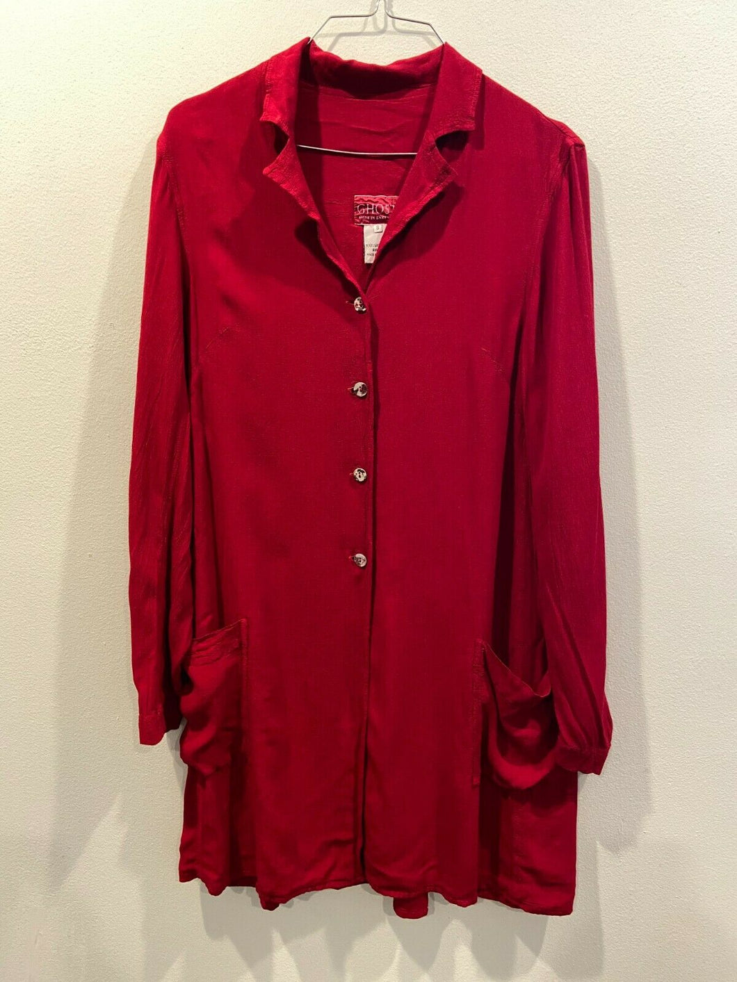 Ghost England Blood Red Lagenlook Overcoat Smock Dress