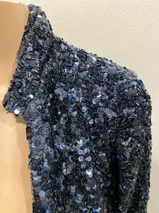 GRYPHON BLUE SEQUIN HI LO BAND JACKET