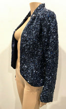 Load image into Gallery viewer, GRYPHON BLUE SEQUIN HI LO BAND JACKET
