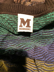 M Missoni Degrade Green Knit Cardigan Long Sweater