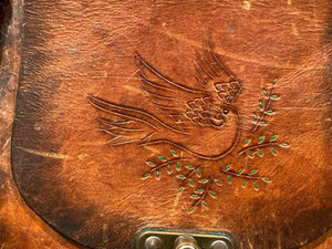 Vintage 60's Hippy Tooled Painted Dove Flower Bag