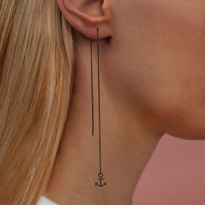 LULU Copenhagen ANCHOR ØREKÆDE 1 STK - RUTHENIUM Ear stud, 1 pcs Sort