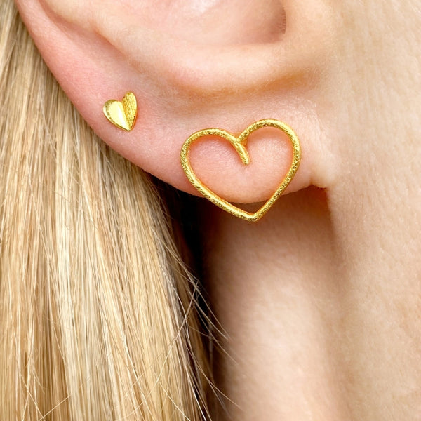 LULU Copenhagen HAPPY HEART 1 STK Ear stud, 1 pcs Forgyldt