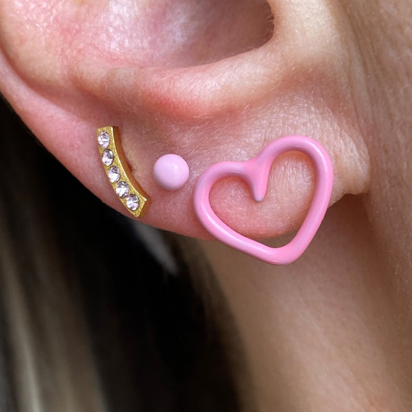 LULU Copenhagen HAPPY HEART 1 STK - ENAMEL Ear stud, 1 pcs Rosa