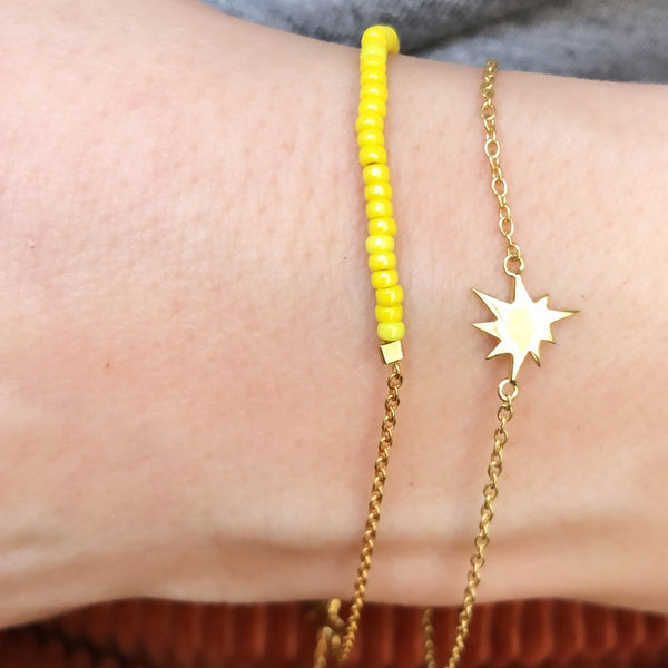 LULU Copenhagen STRING ARMBÅND - FORGYLDT Bracelets Gold with yellow seed beads