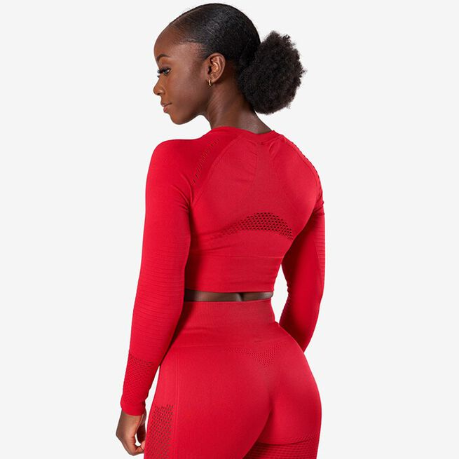 Dynamic Seamless Long Sleeve Crop Top, Deep Red