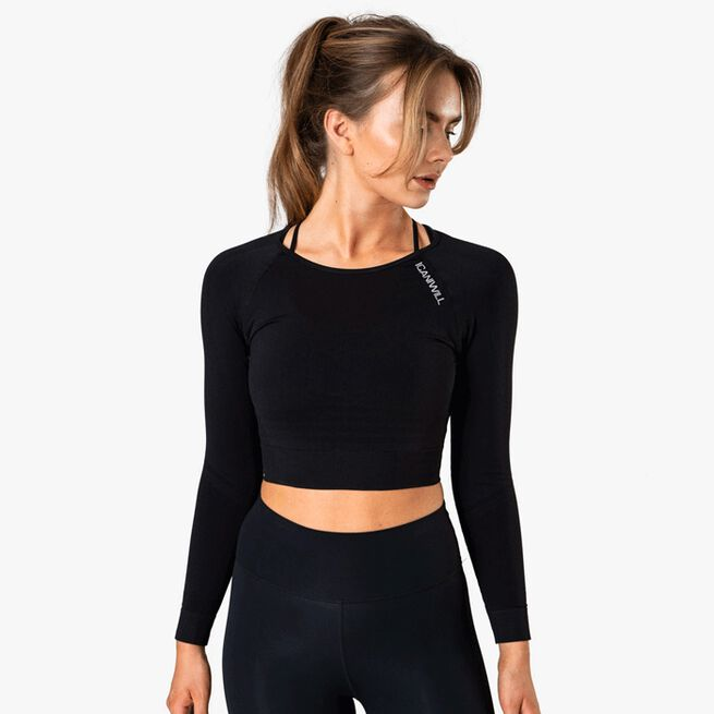Define Seamless L/S Crop Top, Black