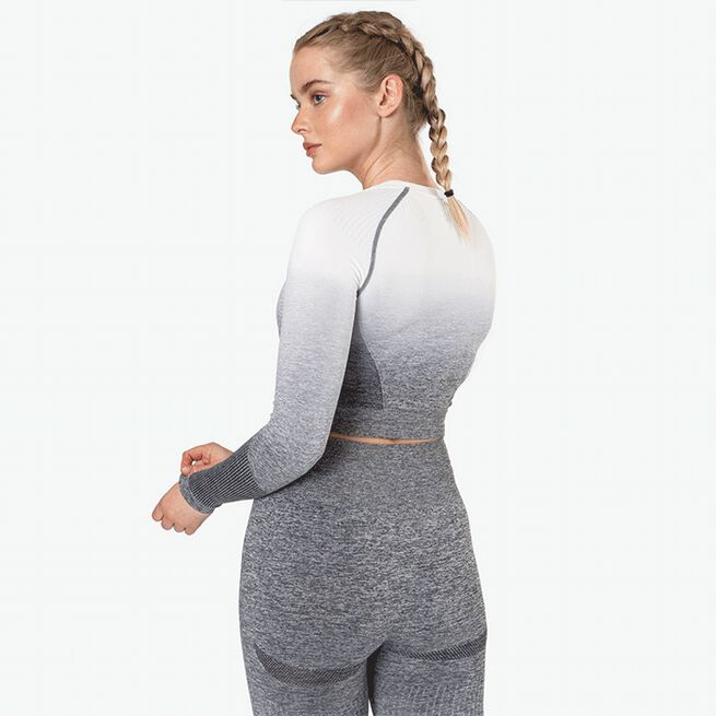 Ombre Seamless L/S Crop Top, Grey
