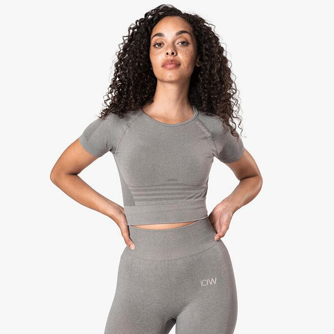 Define Seamless Cropped T-shirt, Taupe Melange