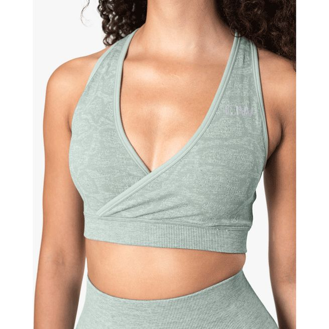 Snake Seamless Sports Bra, Light Green