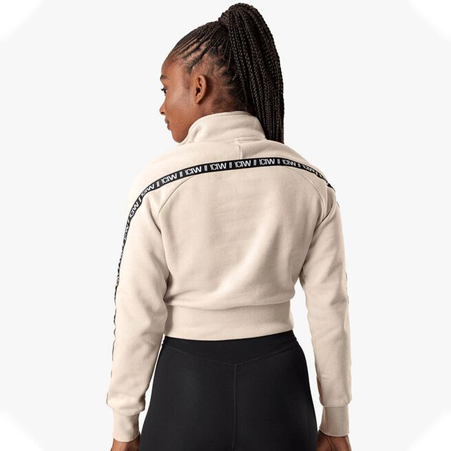 Essential Cropped Logo Sweater, Beige