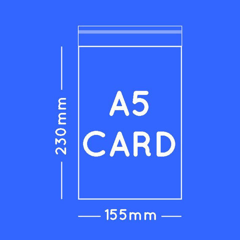 A5 card size cellophane bags - 15.5 x 23cm