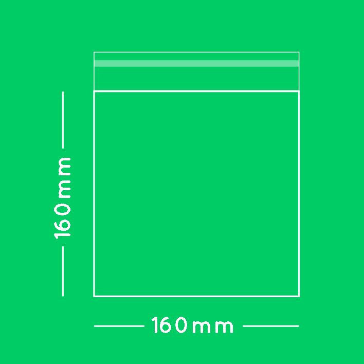16cm square cellophane bag with sealing strip