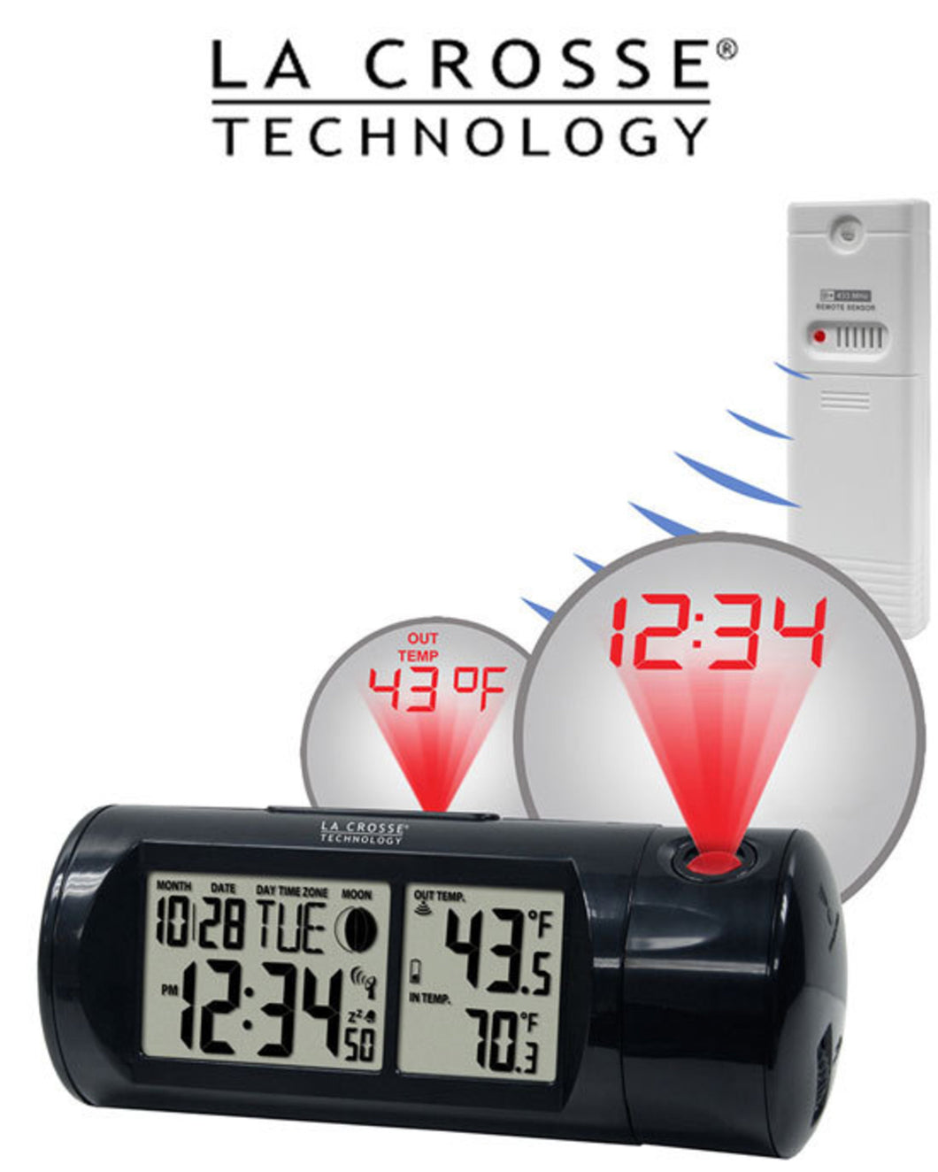 La Crosse Projection Alarm Clock Outdoor Temperature