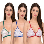 Multicoloured Cotton  Solid T-Shirt Bras Set of 3