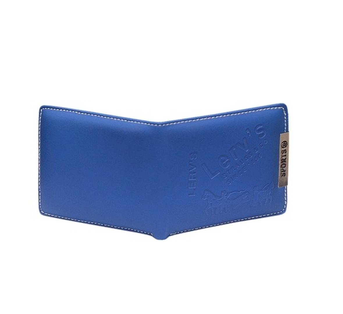 Men's Long Length Solid Blue Rexine Two Fold Wallet
