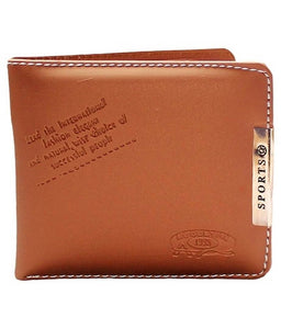 Men's Long Length Solid Brown Rexine Two Fold Wallet