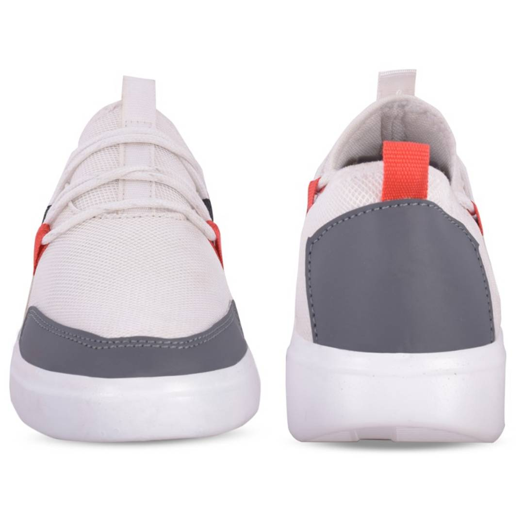 White Synthetic Self Design Sports Shoe For Men