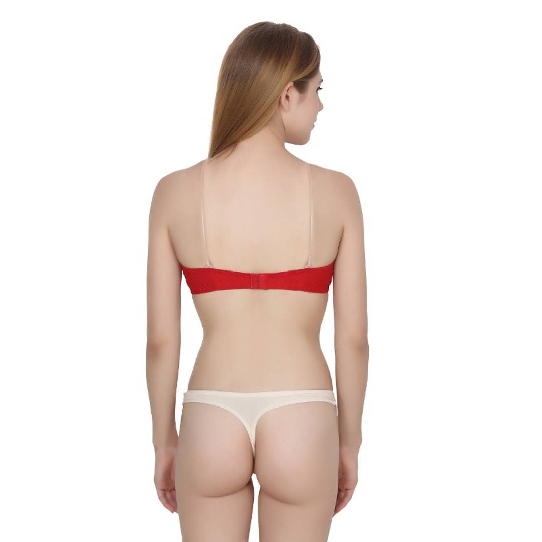 Women Full Coverage Lightly Padded Bra Transparent Strap (Red)