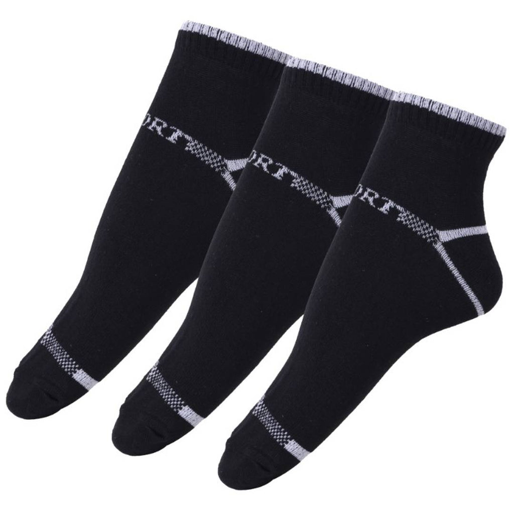 Cotton Blend Ankle Length Socks (Free Size) - Pack of 3 Pairs