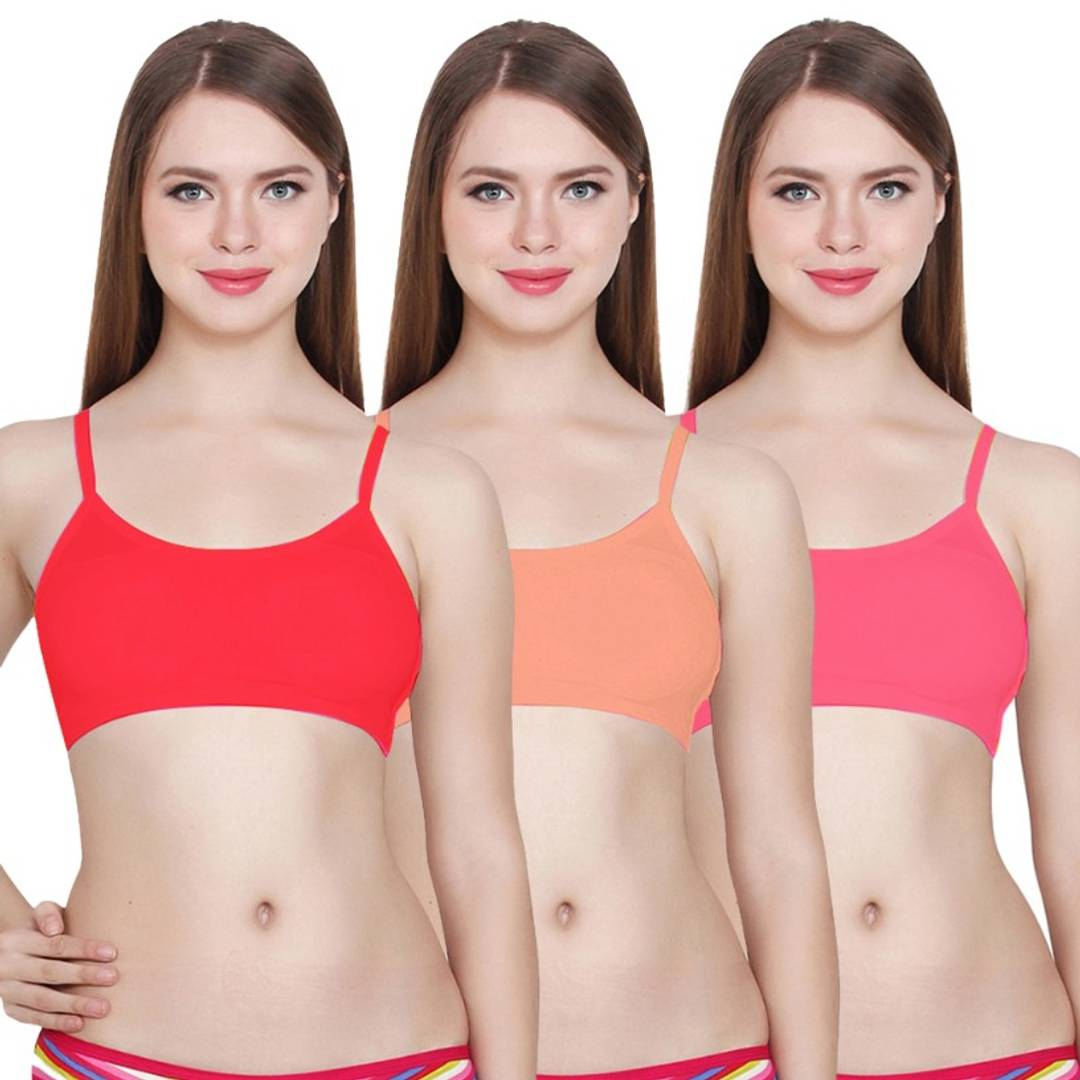 Women & Girls Bra, Sports Bra 6 Patti Padded Bralettes Bra Pack Of 3 ( Removable Pads)