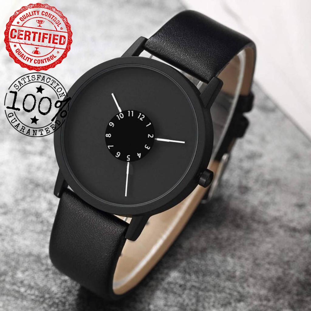 ❤️ New Black Leather Watch {Made In India} 🇮🇳