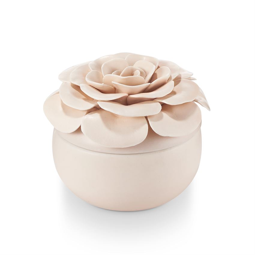 Coconut Milk Mango Ceramic Flower Candle - T E R R A