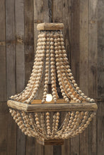 Load image into Gallery viewer, Wood & Metal Framed Chandelier with Wood Bead Draping