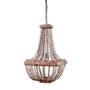 Wood & Metal Framed Chandelier with Wood Bead Draping