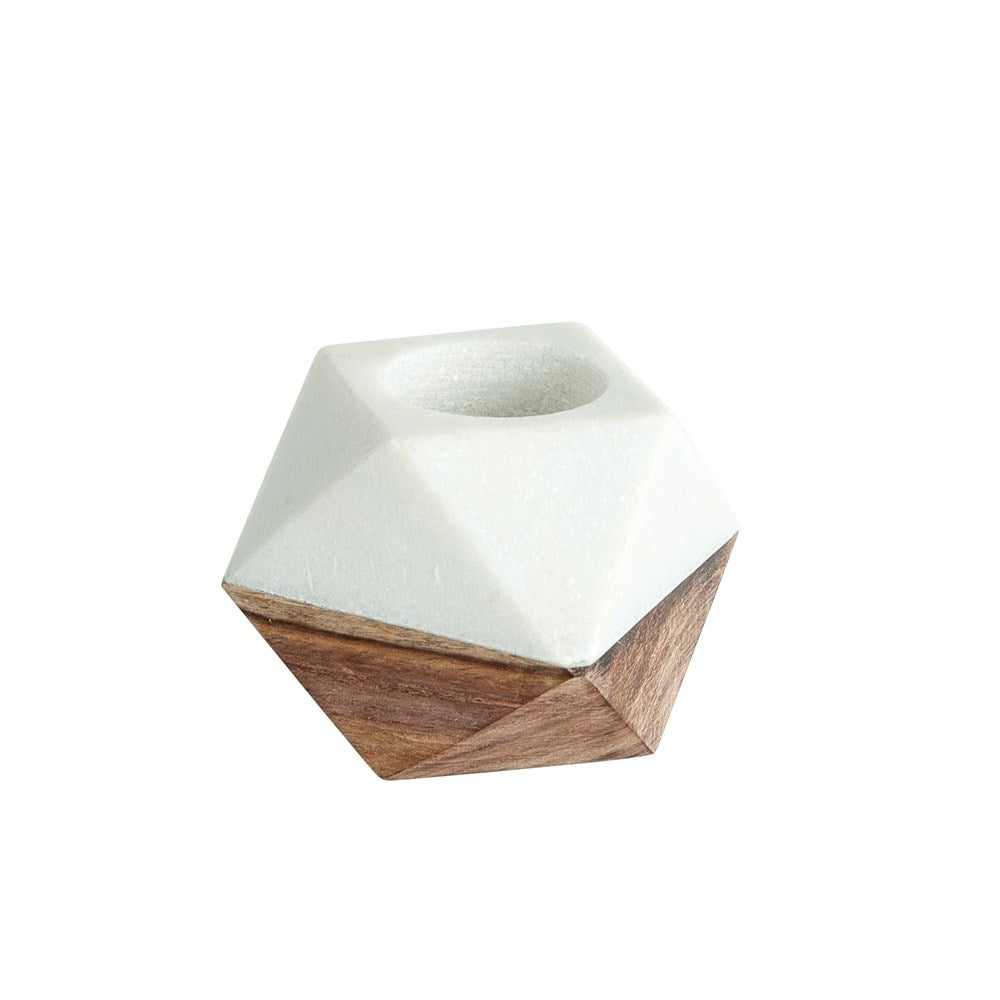 Marble & Wood Tealight Holder, White - T E R R A
