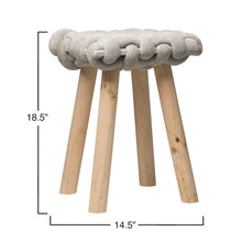 Load image into Gallery viewer, Wood Stool with Chunky Woven Seat