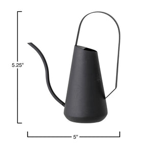Textured Metal Watering Can, Matte Black - T E R R A