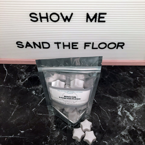 """SHOW ME SAND THE FLOOR"" Amber and Driftwood Para-Soy Blend Star Wax Melts 3oz."