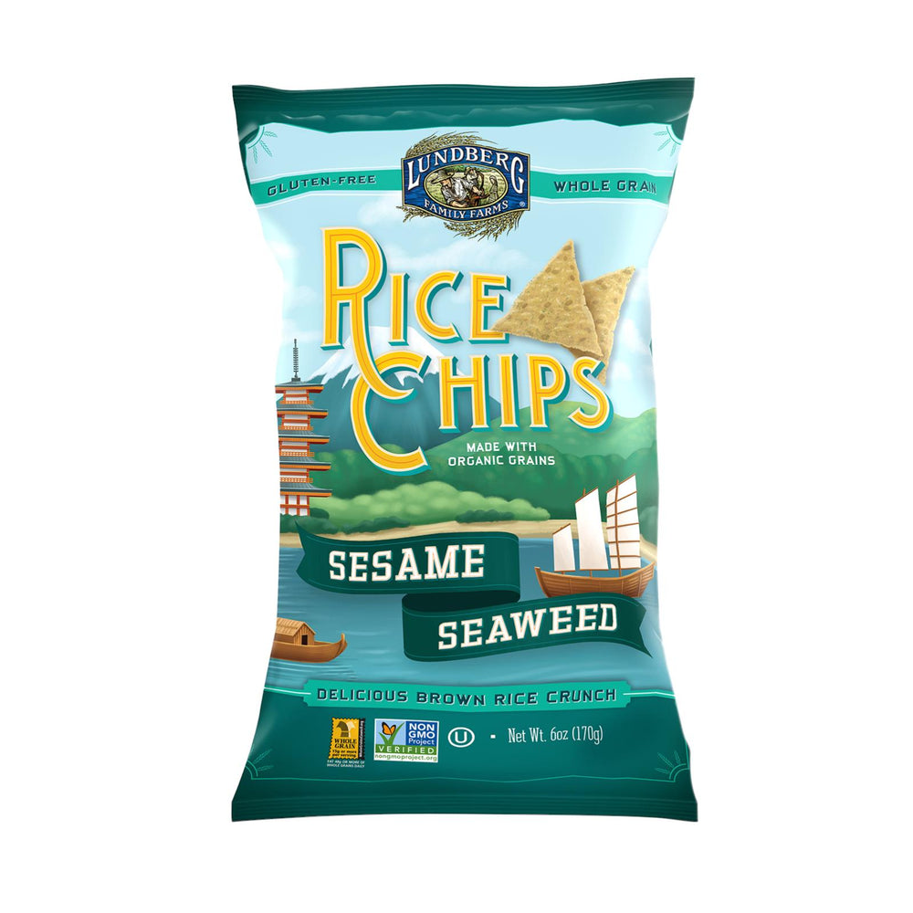 Lundberg Family Farms Sesame Seaweed Rice Chips - Case Of 12 - 6 Oz.