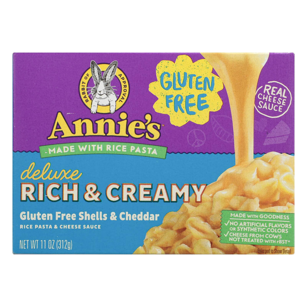 Annies Homegrown Rice Pasta Dinner - Creamy Deluxe - Rice Pasta And Extra Cheesy Cheddar Sauce - Gluten Free - 11 Oz - Case Of 12