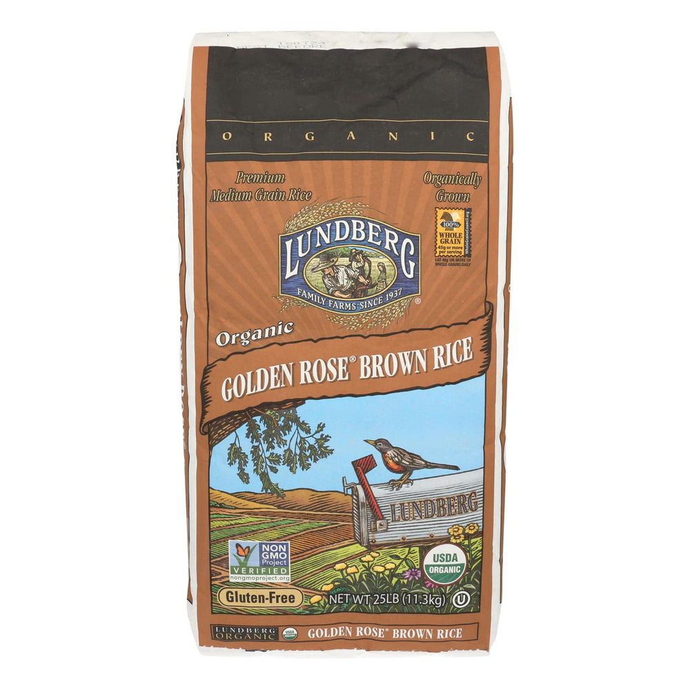 Lundberg Family Farms Organic Golden Rose Medium Grain Brown Rice - Case Of 25 Lbs