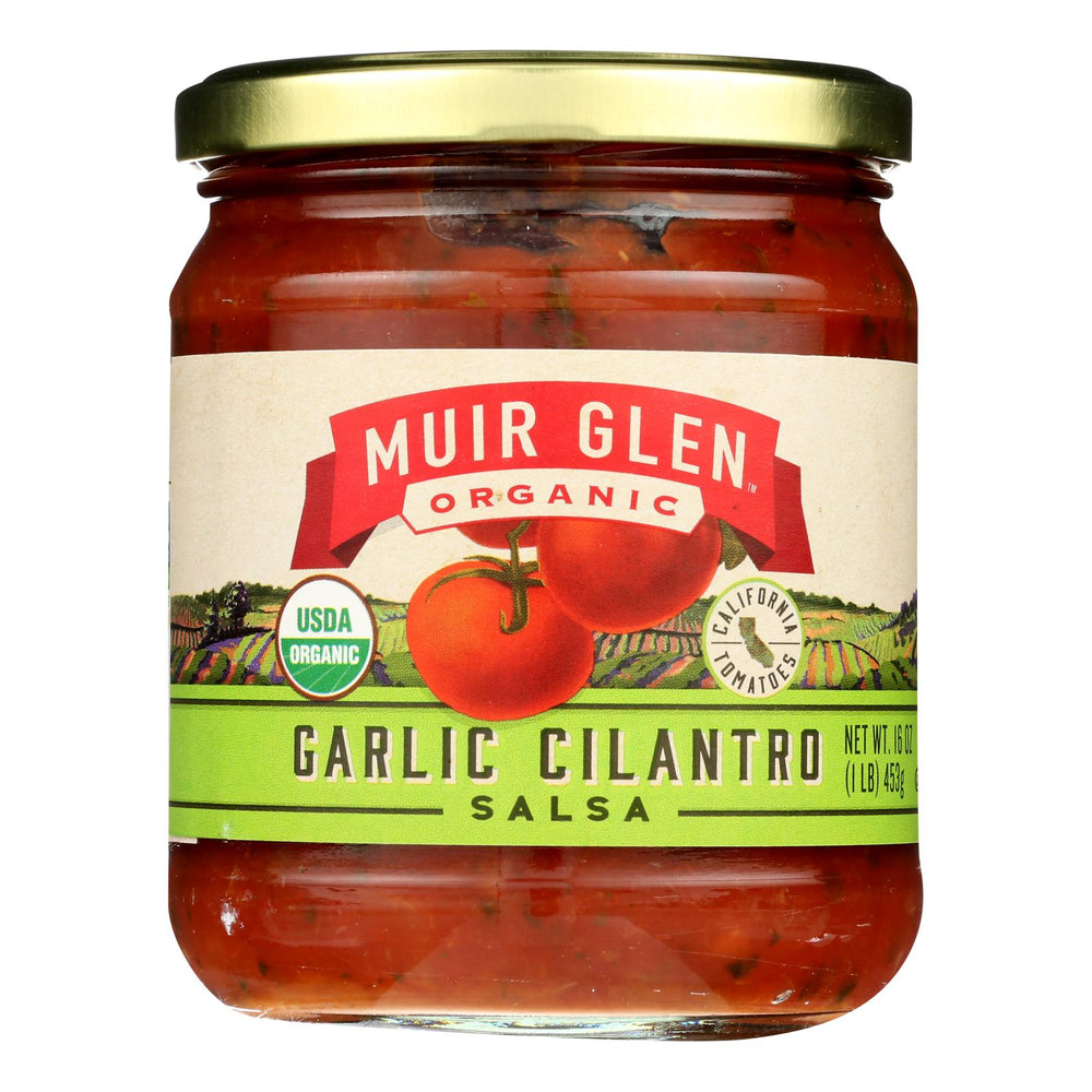 Muir Glen Medium Garlic Cilantro Salsa - Tomato - Case Of 12 - 16 Oz.