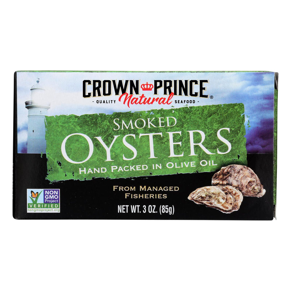 Crown Prince Oysters - Naturally Smoked In Pure Olive Oil - 3 Oz - Case Of 18