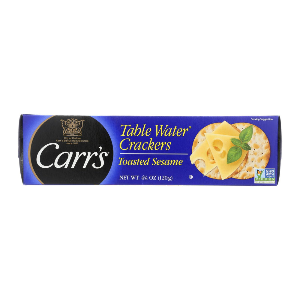 Carr's Table Water Crackers - Bite Size With Sesme - Case Of 12 - 4.25 Oz