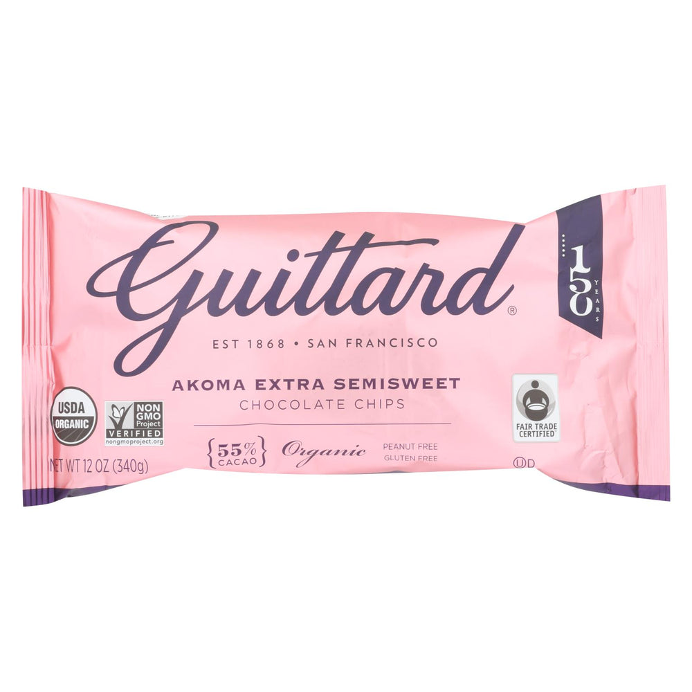 Guittard Chocolate Chips - Akoma Extra Semi Sweet - Case Of 12 - 12 Oz.