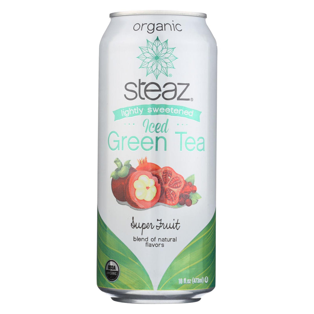 Steaz Lightly Sweetened Green Tea - Super Fruit - Case Of 12 - 16 Fl Oz.