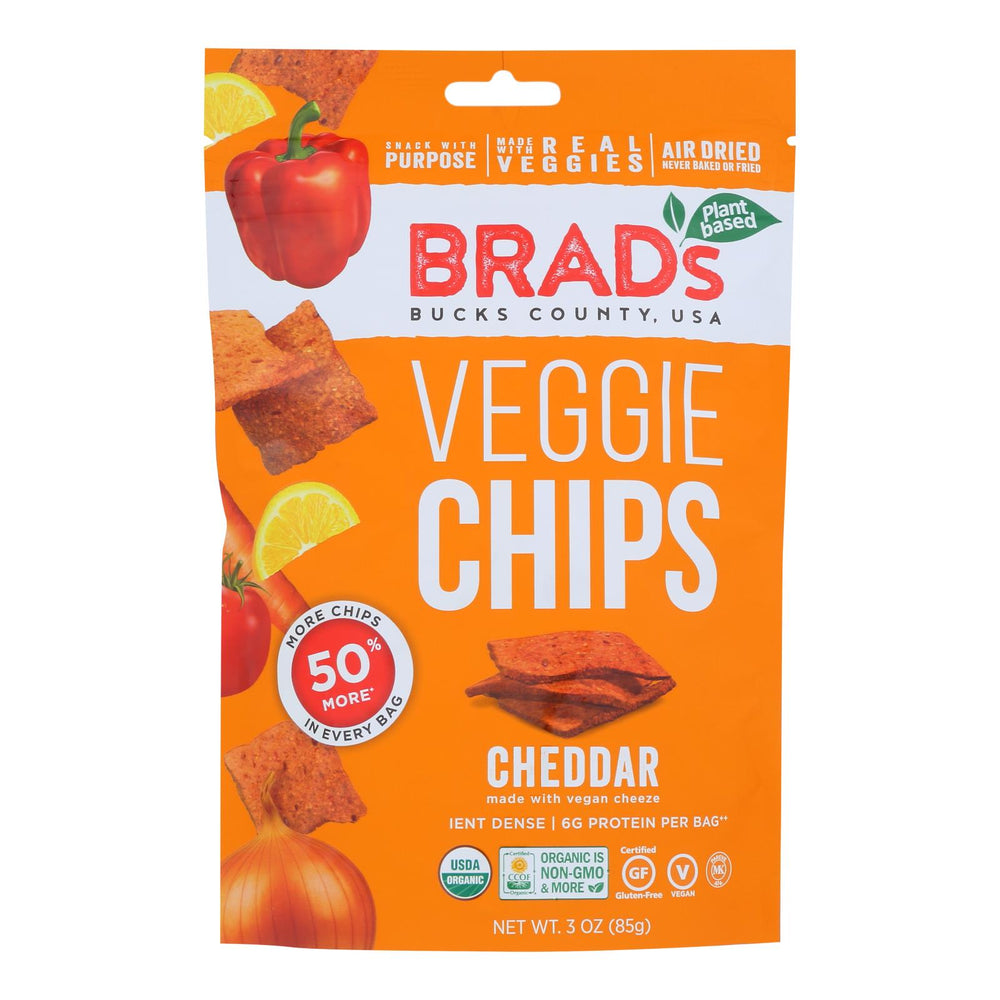 Brad's Plant Based - Raw Chips - Cheddar - Case Of 12 - 3 Oz.