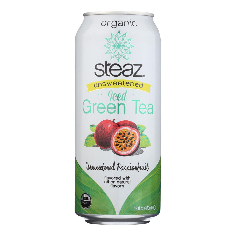 Steaz Unsweetened Green Tea - Passion Fruit - Case Of 12 - 16 Fl Oz.