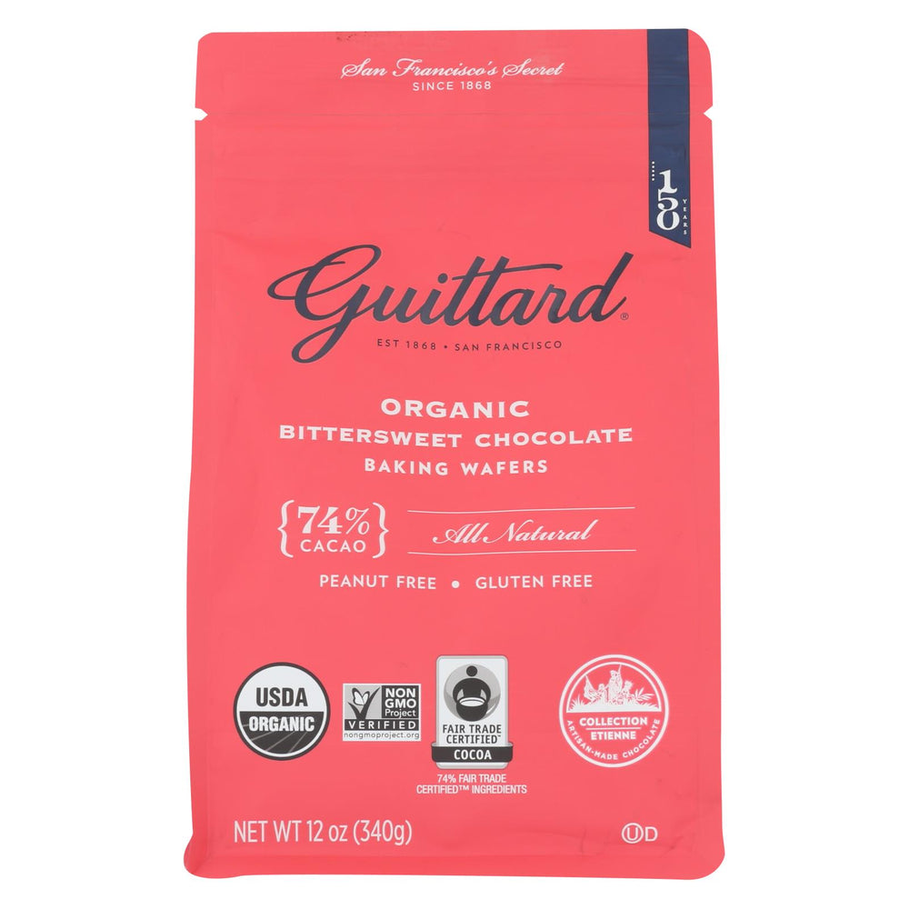 Guittard Chocolate Baking Wafers - Organic - 74% Bittersweet - Case Of 8 - 12 Oz