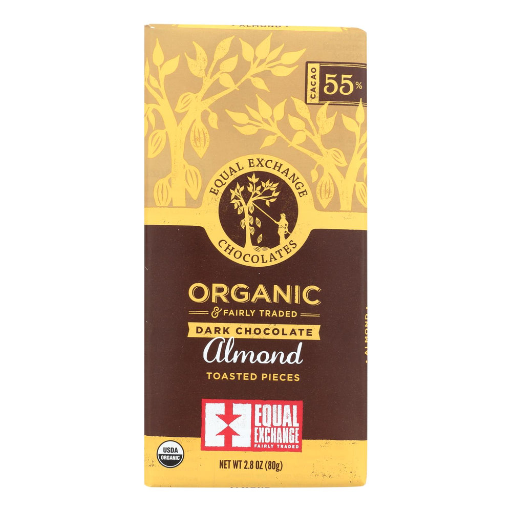 Equal Exchange Organic Dark Chocolate Bar - Almonds - Case Of 12 - 2.8 Oz.