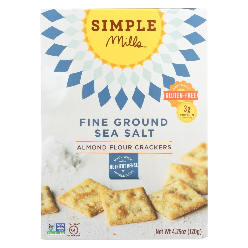 Simple Mills Fine Ground Sea Salt Almond Flour Crackers - Case Of 6 - 4.25 Oz.